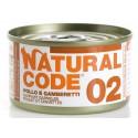 Natural Code 02 Pollo e Gamberetti Scatoletta di Umido per Gatti 85 gr