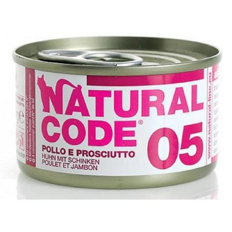 Natural Code 05 Pollo e Prosciutto Scatoletta di Umido per Gatti 85 gr