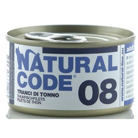 Natural Code 08 Tranci di Tonno Scatoletta di Umido per Gatti 85 gr