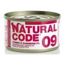 Natural Code 09 Tonno e Gamberetti Scatoletta di Umido per Gatti 85 gr