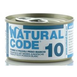 Natural Code 10 Tonno e Piccoli pesci Bianchi Scatoletta di Umido per Gatti 85 gr