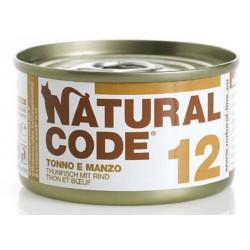 Natural Code 12 Tonno e Manzo Scatoletta di Umido per Gatti 85 gr