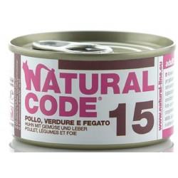 Natural Code 15 Pollo Verdure e Fegato Scatoletta di Umido per Gatti 85 gr