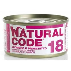 Natural Code 18 Sgombro e Prosciutto Scatoletta di Umido per Gatti 85 gr