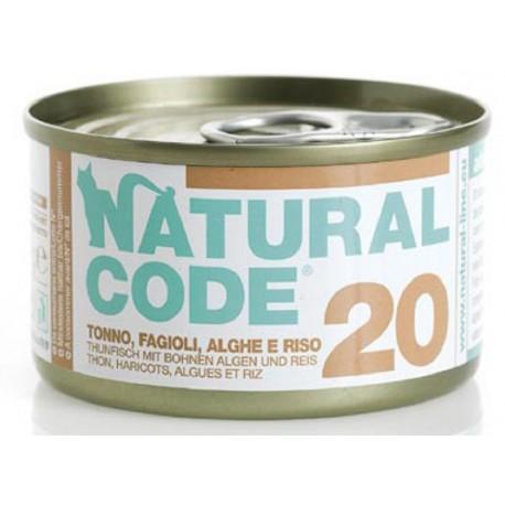 Natural Code 20 Tonno Fagioli Alghe e Riso Scatoletta di Umido per Gatti 85 gr