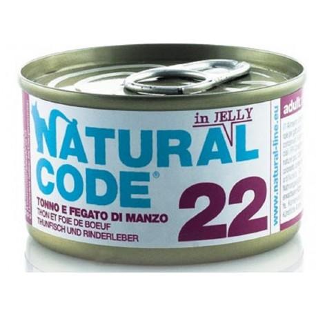 Natural Code 22 in Jelly Tonno Fegato di Manzo Scatoletta di Umido per Gatti 85 gr
