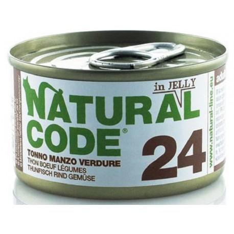 Natural Code 24 in Jelly Tonno Manzo e Verdure Scatoletta di Umido per Gatti 85 gr