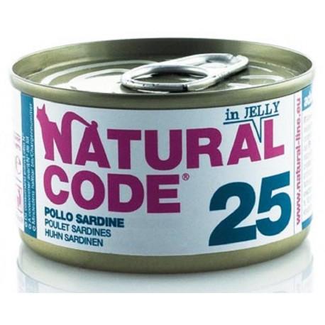 Natural Code 25 in Jelly Pollo e Sardine Scatoletta di Umido per Gatti 85 gr
