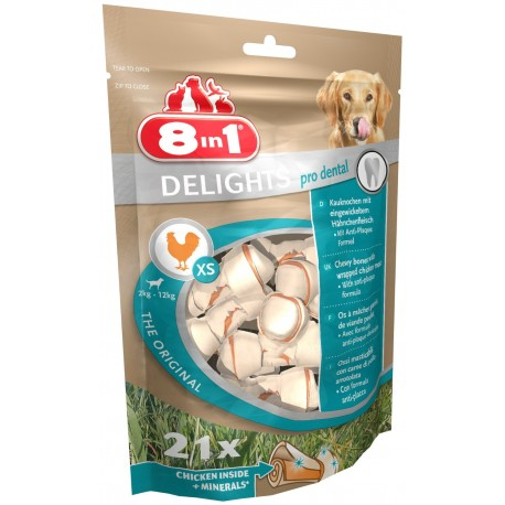 8in1 Delights Pro Dental 21 Ossi XS per Pulizia Denti Cane