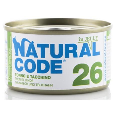 Natural Code 26 in Jelly Tonno e Tacchino Scatoletta di Umido per Gatti 85 gr