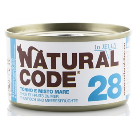 Natural Code 28 in Jelly Tonno e Misto Mare Scatoletta di Umido per Gatti 85 gr