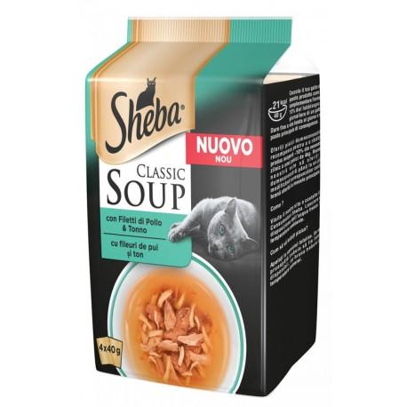Sheba Soup con Filetti di Pollo e Tonno 4 x 40 gr