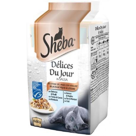 Sheba Delices Du Jour in Salsa Selezione del Mare con Verdure 6 x 50 gr
