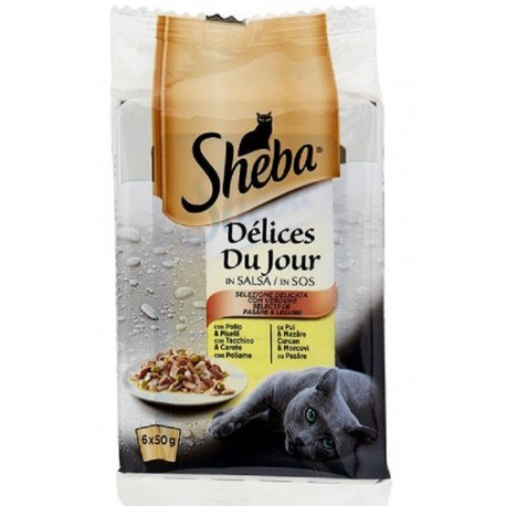 Sheba Delices Du Jour in Salsa Selezione Delicata con Verdure 6 x 50 gr
