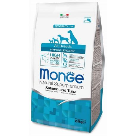 Monge All Breeds Hypoallergenic Salmone e Tonno 2,5 Kg per Cane