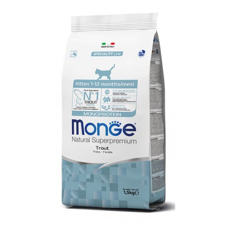 Monge Gatto 1,5Kg Natural Superpremium Kitten con Trota per Gattini