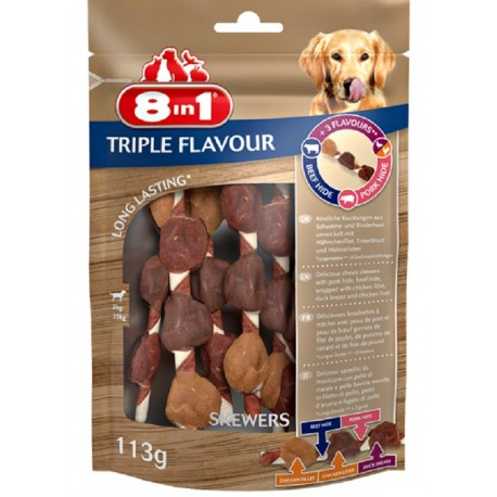 8in1 Triple Flavour Skewers 113gr Snack Spiedini per Cani