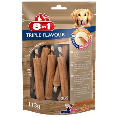 8in1 Triple Flavour Ribs 113 gr Snack 6 Costolette di Pollo per Cane