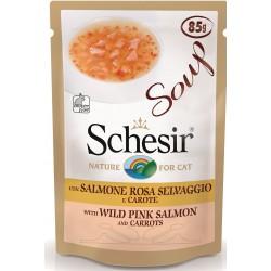 Schesir Soup 85gr Salmone Rosa Selvaggio e Carote Cibo in Busta per Gatto