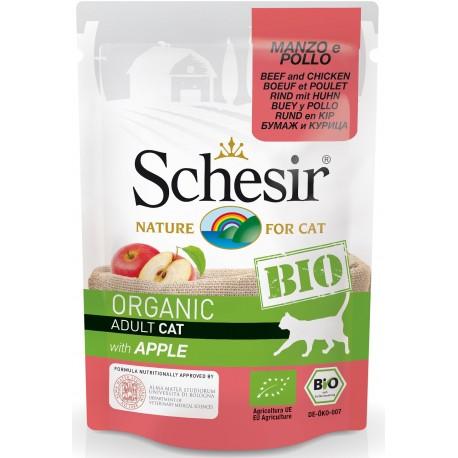 Schesir Bio Adult con Manzo Pollo e Mela 85 gr Cibo Umido per Gatti Adulti