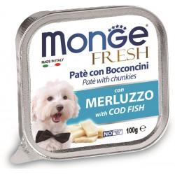 Monge Fresh Patè e Bocconcini con Merluzzo 100 gr per Cane