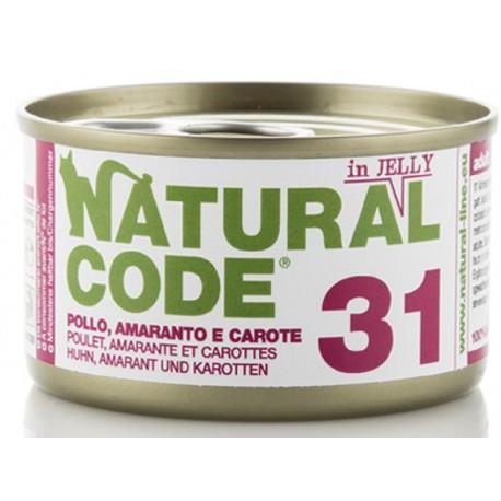 Natural Code 31 in Jelly Pollo, Amaranto e Carote Scatoletta di Umido per Gatti 85 gr