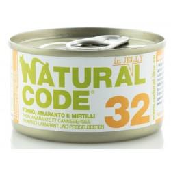 Natural Code 32 in Jelly Tonno, Amaranto e Mirtillo Scatoletta di Umido per Gatti 85 gr