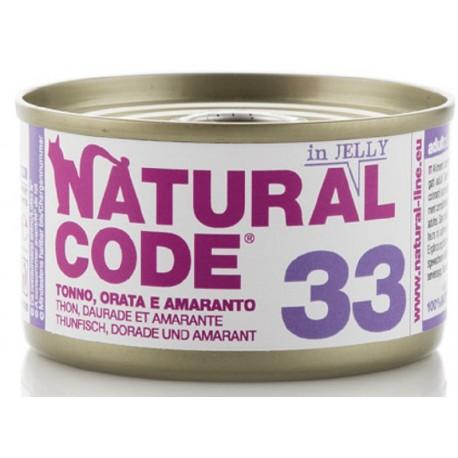Natural Code 33 in Jelly Tonno, Orata e Amaranto Scatoletta di Umido per Gatti 85 gr