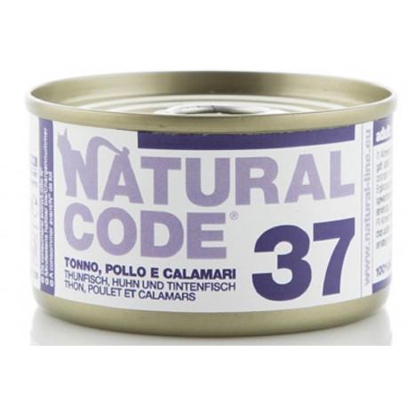 Natural Code 37 Tonno Pollo e Calamari Scatoletta di Umido per Gatti 85 gr