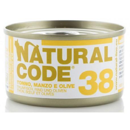 Natural Code 38 Tonno Manzo e Olive Scatoletta di Umido per Gatti 85 gr