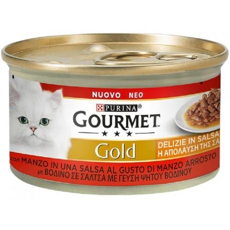 Gourmet Gold 85 gr Delizie in Salsa Manzo Cibo Umido per Gatto