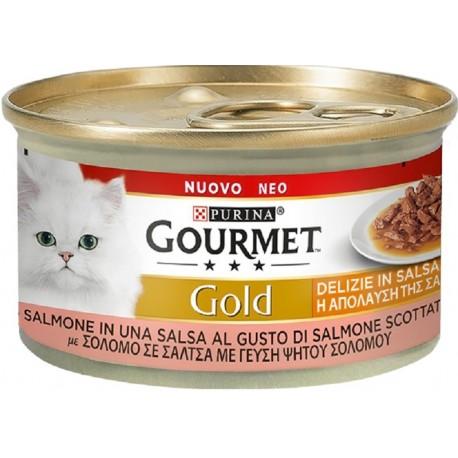 Gourmet Gold 85 gr Delizie in Salsa Salmone Cibo Umido per Gatto