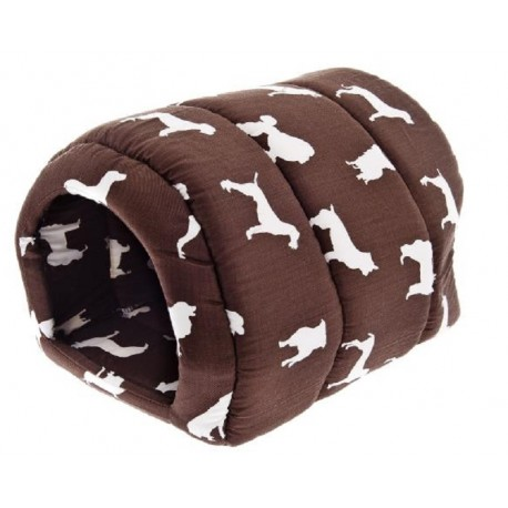 Casetta Tunnel in Cotone Marrone T794S per Cane o Gatto