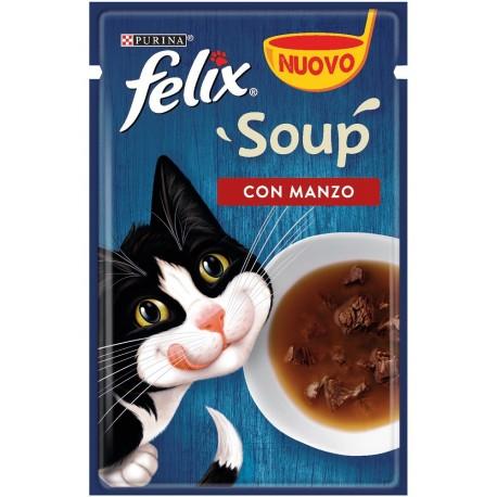 Felix Soup 48 gr Con Manzo Cibo Umido in Zuppa per Gatti