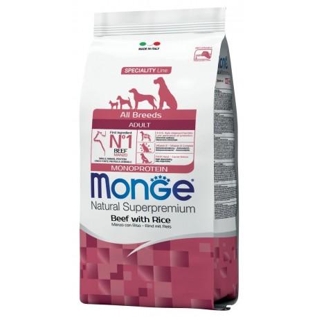 Monge All Breeds Adult Manzo e Riso 2,5 kg Crocchette Monoproteiche per Cane