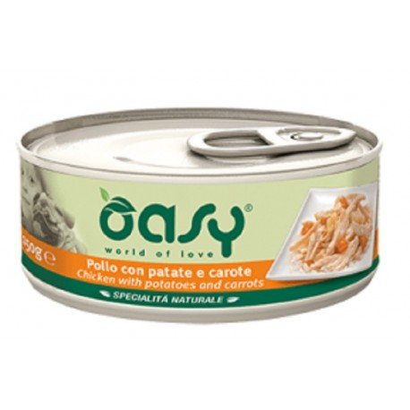 Oasy Wet Dog Pollo con Patate e Carote Lattina 150 gr Cibo per Cane