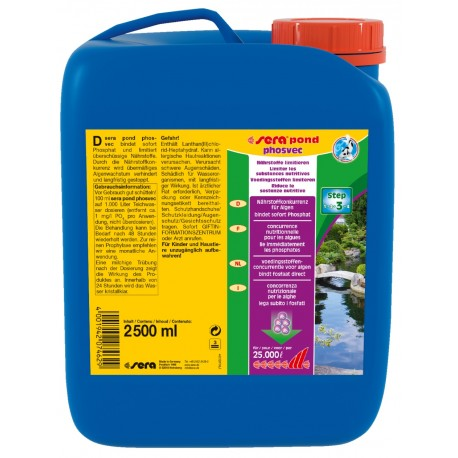 Sera Pond Phosvec 2500 ml per 25000 lt Anti Alghe per Laghetto