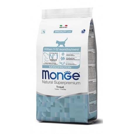 Monge Gatto 400gr Natural Superpremium Kitten con Trota per Gattini