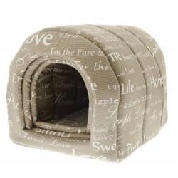 Casetta Tunnel in Cotone Beige Shabby Chic T776L per Cane o Gatto