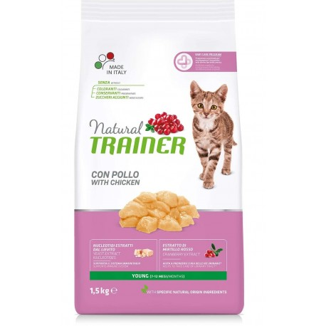 Trainer Natural Young con Pollo Kg 1,5 Croccantini per Gatto