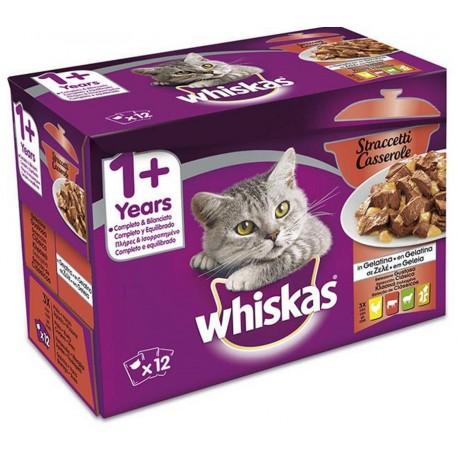 Whiskas Multipack 12 x 85 gr Straccetti Casserole in Gelatina Selezione Gustosa per Gatti