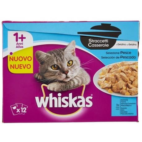 Whiskas Multipack 12 x 85 gr Straccetti Casserole in Gelatina Selezione Pesce per Gatti