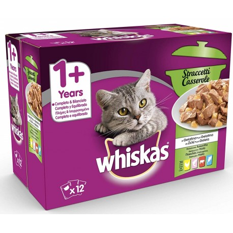 Whiskas Multipack 12 x 85 gr Straccetti Casserole in Gelatina Selezione Assortita per Gatti