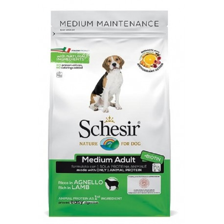 Schesir Dog Medium Adult Agnello 3 kg Crocchette per Cane