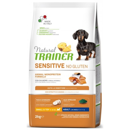 Natural Trainer Sensitive No Gluten ex Fitness 3 Adult Small & Toy con Salmone 2 kg