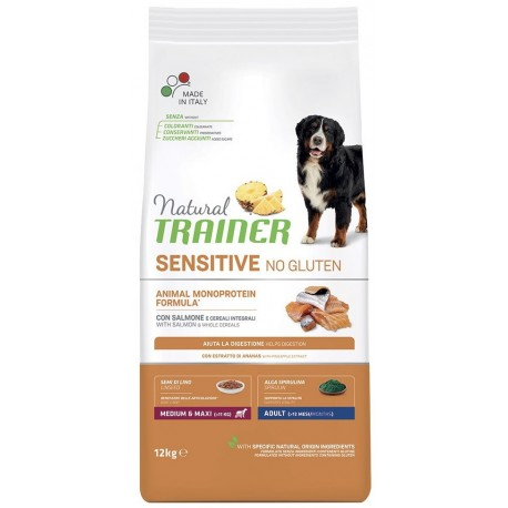Natural Trainer Sensitive No gluten Medium Maxi Salmone 12,5Kg