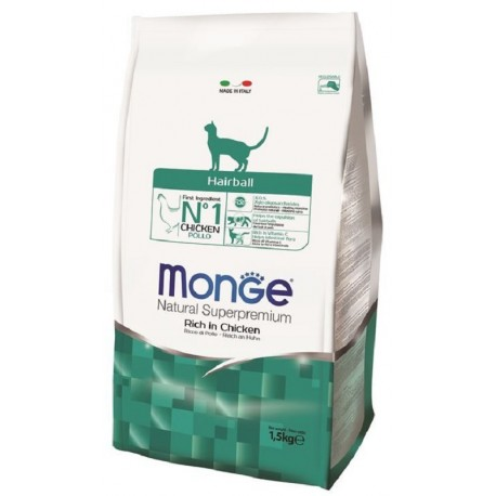 Monge Gatto Natural Superpremium Hairball con Pollo 1,5 Kg