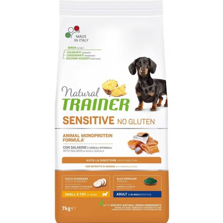 Natural Trainer Sensitive No Gluten Adult Small & Toy con Salmone 7 kg