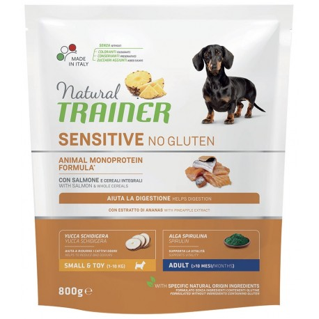 Natural Trainer Sensitive No Gluten ex Fitness 3 Adult Small & Toy con Salmone 800g