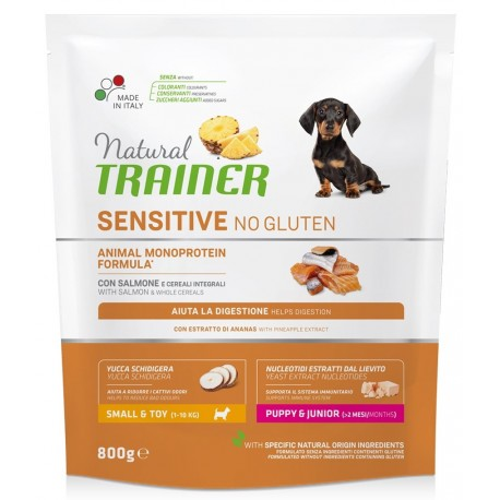 Natural Trainer Sensitive No Gluten Mini Puppy & Junior con Salmone 800g